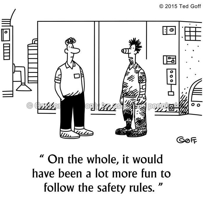 Safety Cartoon # 7525: On the whole, it would have been a lot more fun to follow the safety rules.