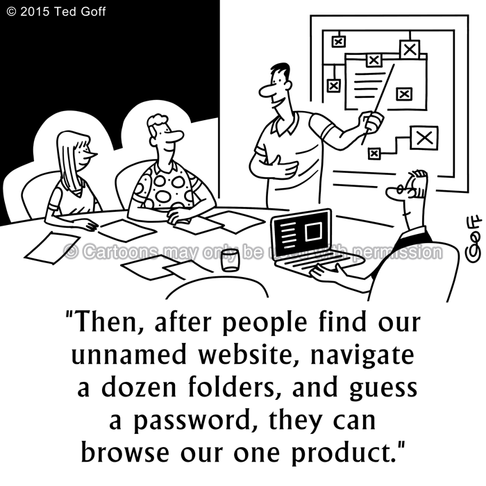 Computer Cartoon # 7546: Then, after people find our unnamed website, navigate a dozen folders, and guess a password, they can browse our one product.