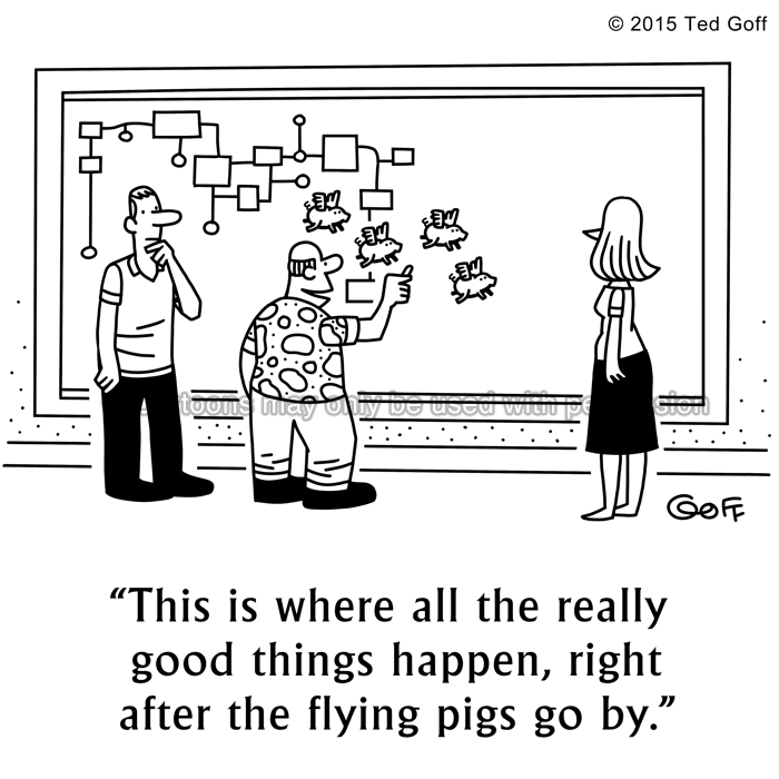 Management Cartoon # 7560: This is where all the really good things happen, right after the flying pigs go by.