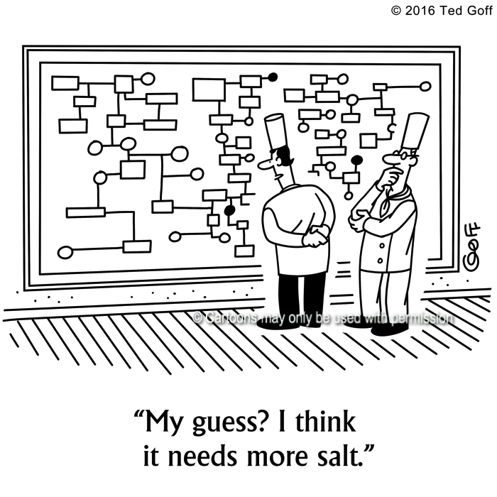 Management Cartoon # 7591: My guess? I think it needs more salt.