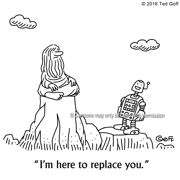 Computer Cartoon # 7632: Robot to guru: I'm here to replace you.